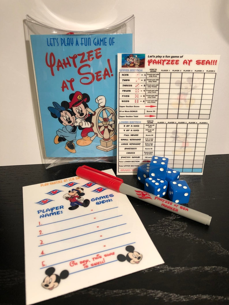 Disney Inspired Yahtzee Game Perfect for cruises and anytime after...great Fish Extender gifts!!