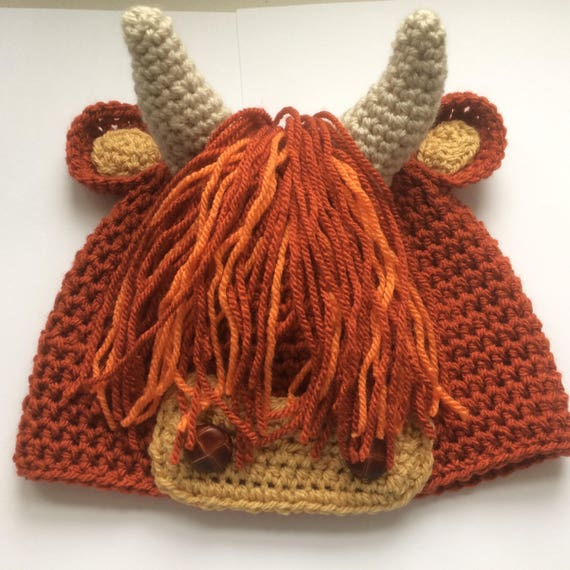 Handmade crochet Scottish Highland Cow or Coo beanie hat made  4fdd877433c