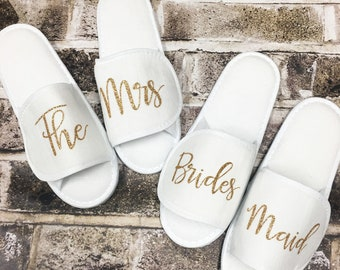 Spa Slippers, The Mrs Slippers, Spa Slippers, Custom Spa Slippers, Bridesmaid Gift, Bridal Party Slippers, Bridal Slippers, The Mrs,