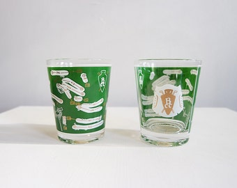 Set of 2 Butterfield Country Club drinking Glass, green and gold from 1962
