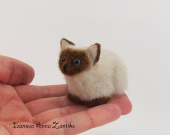 Siamese cat  miniature animal miniature cat cat for dollhouse Siamese blythe cat for doll OOAK cat mini cat for cat lover felted siamese cat