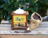 Antique Coffee Mill, Wooden Coffee Grinder, Japy Freres Coffee Box Mill. Rustic Kitchen Decor, Lap Coffee Grinder, French Country Decor,