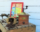 Coffee Mill. Peugeot Freres Coffee Mill. Coffee Grinder. Box Coffee Grinder. Beech Wood Coffee Mill. French. Vintage.