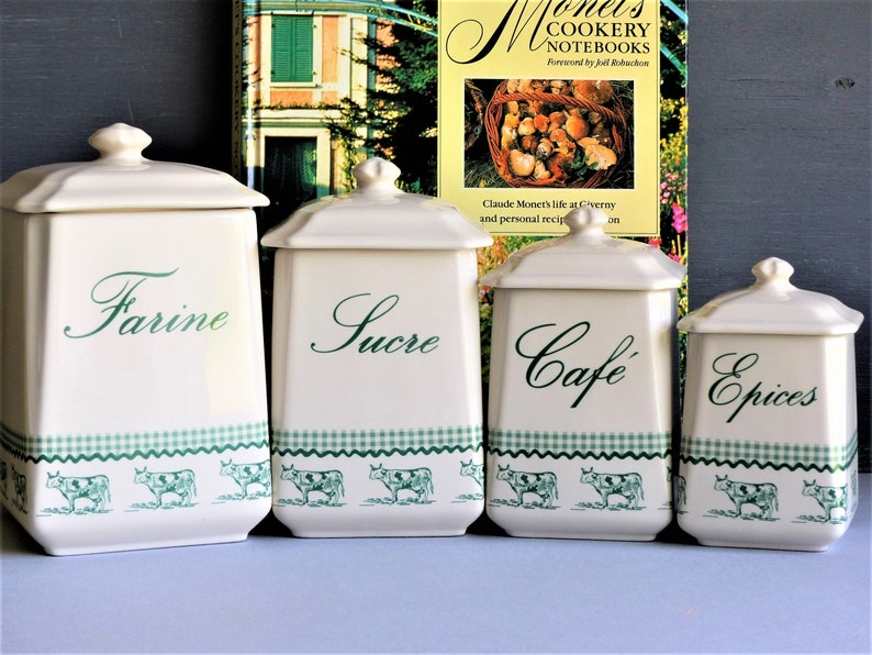 Set Of 4 French Vintage Kitchen Canisters Kitchen Storage Food Storage Vintage Kitchen Decor Birthday Gift Foodie Gift Farmhouse