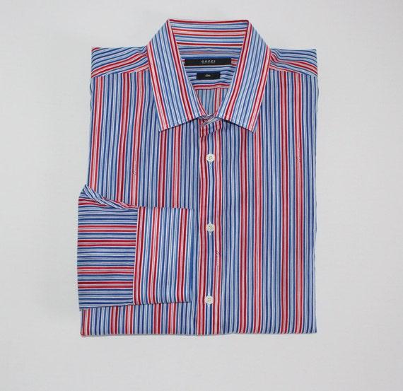GUCCI delgado camiseta azul rojo blanco rayas largo manga  07f2046da12