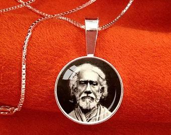 SRI YUKTESWAR Sterling Silver Pendant Paramahansa Yogananda Jewelry SRF Guru Necklace Sriyukteswar Kriya Yoga Pendant 16mm