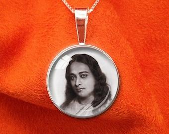YOGANANDA NECKLACE Sterling Silver Paramahansa Yogananda Kriya Yoga Meditation Jewelry Self Realization Yogananda Pendant 20mm