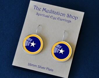 6th CHAKRA SPIRITUAL Eye Earrings Yogananda Jewelry SRF Guru Earrings Kriya Yoga 16mm Silver Plate Blue Yellow White