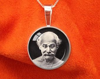 LAHIRI MAHASAYA Sterling Silver Pendant Paramahansa Yogananda Jewelry SRF Guru Necklace Kriya Yoga Pendant 20mm