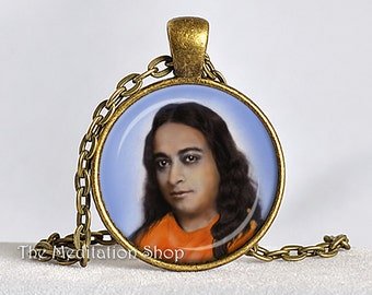 YOGANANDA PENDANT Paramahansa Yogananda Jewelry SRF Guru Necklace Kriya Yoga Pendant Self-Realization Yoga Gift 25mm