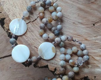 Gemstone, Bamboo Leaf Agate, Shell, Hand-knotted, Beaded Necklace