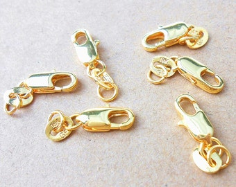K6511 30 x Gold Plated Lobster Clasps 10mm