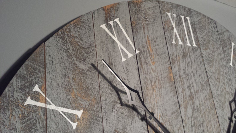 Large Wall Clock 36 Rustic grey with roman numerals image 0