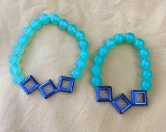 His & Hers Hematite Aventurine Bracelets