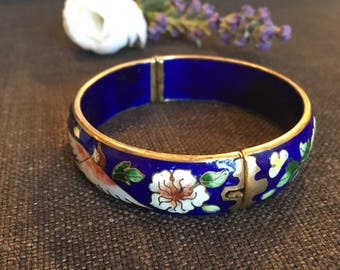 Vintage Chinese Enamel & Brass Bird Bangle