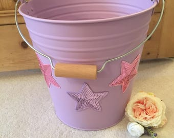 Quirky Storage Bucket with Sequin Stars for Girls Room