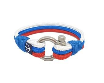 Russian Flag Nautical Bracelet by Bran Marion | Handmade in Ireland | Unisex Bracelet | schackel armband | Schnur Armband