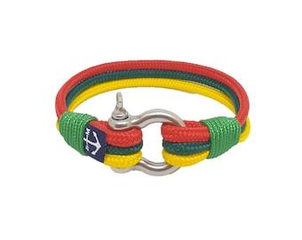 Lithuania Nautical Rope Bracelet, Unisex Bracelet, Braided Rope Bracelet, Shackle Bracelet , Surfer Bracelet
