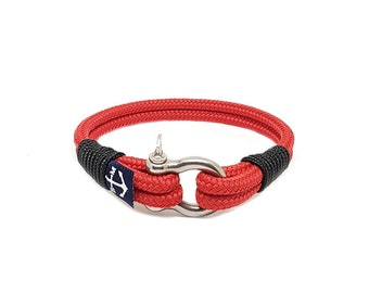 Red and Black Bracelet,Rope Jewelry, Navy Bracelet , Shackle Jewellery, Nautical Bracelet, Beach Bracelet, Unisex Bracelet, For Her, For Him