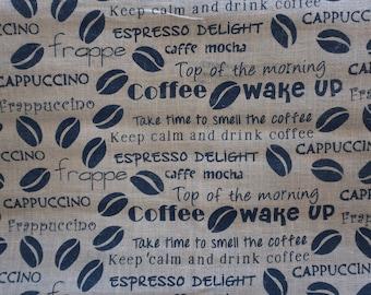 Burlap Fabric by the Yard - Coffee Motif Print