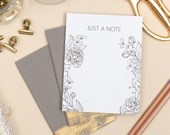 Botanical Coloring Notepad, Floral Coloring Book, Coloring Gift, Stationery Gift, Doodling Notepad, Cute Notepad, Office Supply Gift For Her