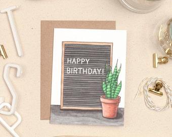 Letter Board Birthday Card, Letter Board Greeting Card, Snake Plant, Plant Lover Card, Plant Lover Birthday Card, Plant Lady Birthday Card