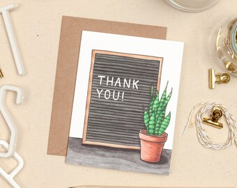 Thank You Letter Board Card, Greeting Card Set, Letterboard quote, Snake Plant, Plant Lover Thank You Card, Terra Cotta Pot