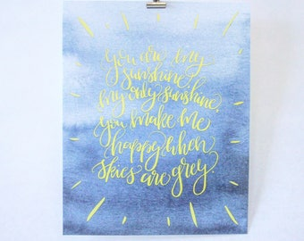 Clivey Boy Print - You are my sunshine - Hand lettered Print - Art Print - Nursery Art - Nursery Print - Blue & Yellow - Watercolor -