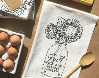 Sunflower - Mason Jar - Flour Sack Towel - Ball Jar - Hand Lettered  - Kitchen Towel - Gift - Cotton Tea Towel - Farmhouse Decor