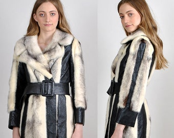 1970's vintage mink and leather coat stunning H16