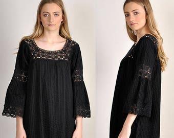 vintage Mexican gothic-boho Wedding maxi dress      H8
