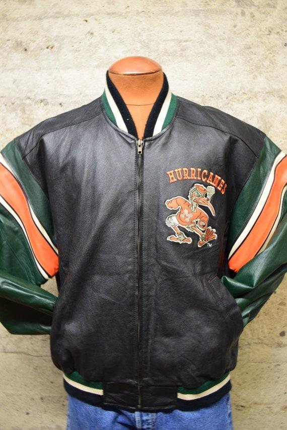 Vintage Leather Miami Hurricanes Letterman Jacket