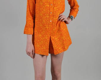 Vintage 1960's Orange and Yellow Floral Print Long Sleeve Jumper with Peter Pan Collar  S5
