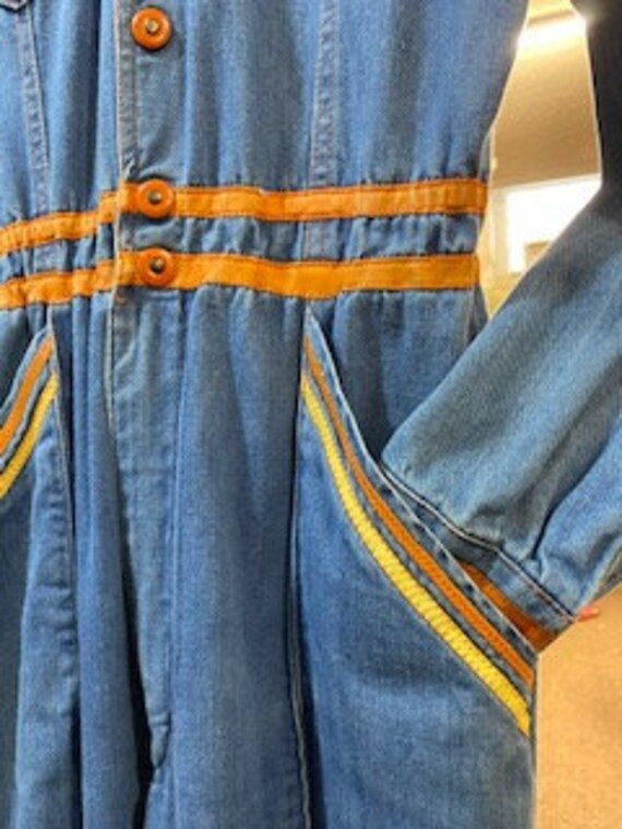 Vintage Faded Glory Denim Jumpsuit Bells Pockets … - image 8