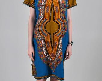 Vintage 1970's Teal Dashiki Style Midi Dress S5