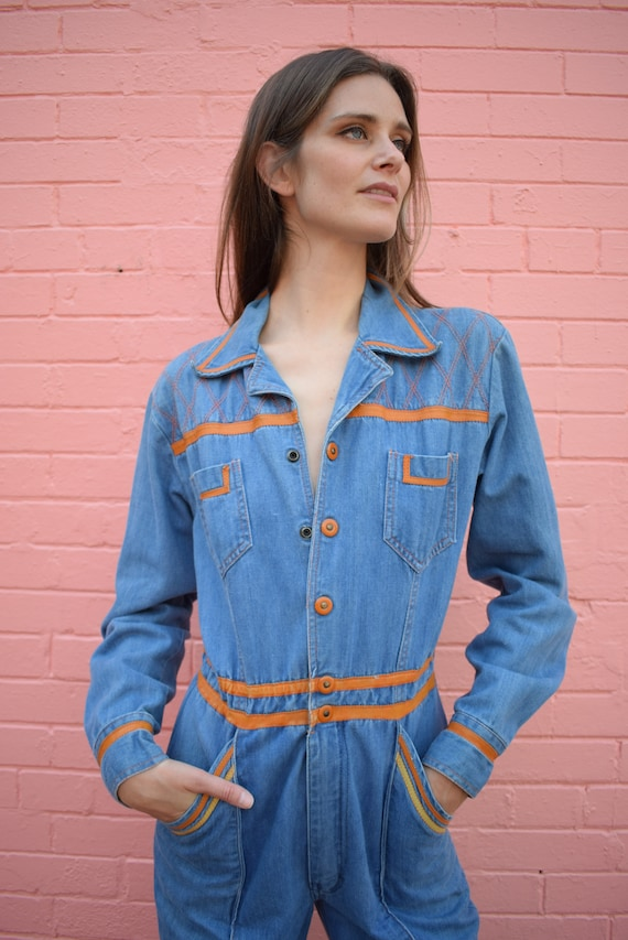 Vintage Faded Glory Denim Jumpsuit Bells Pockets … - image 1