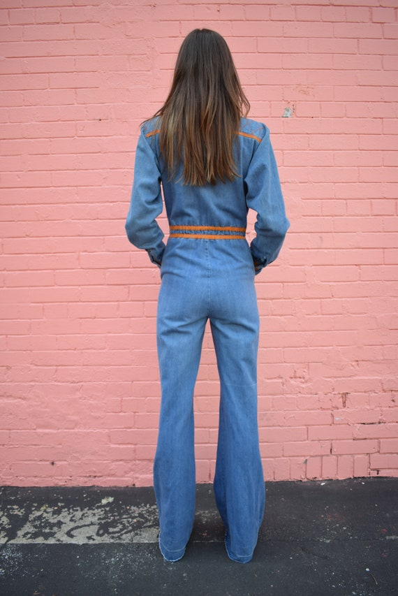 Vintage Faded Glory Denim Jumpsuit Bells Pockets … - image 4