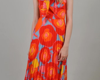 Vintage 1970's Saks Fifth Avenue Orange,Pink and Yellow Maxi Dress     S8