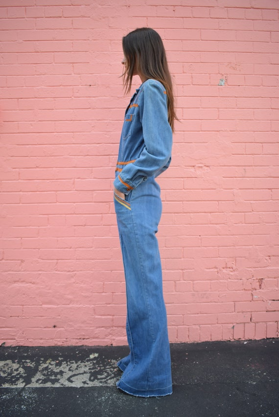 Vintage Faded Glory Denim Jumpsuit Bells Pockets … - image 3