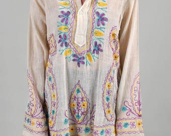 Vintage 1970's Dead-Stock 100% Cotton Made in India NOS Embroidered Hippie Tunic  S7