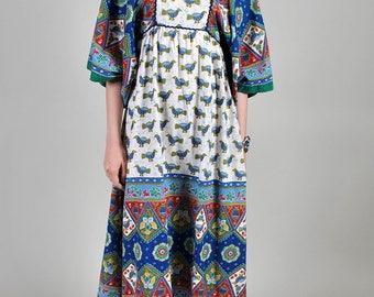 Vintage 1970's Bell Sleeved Empire Waist Hippie Boho Maxi Dress S5