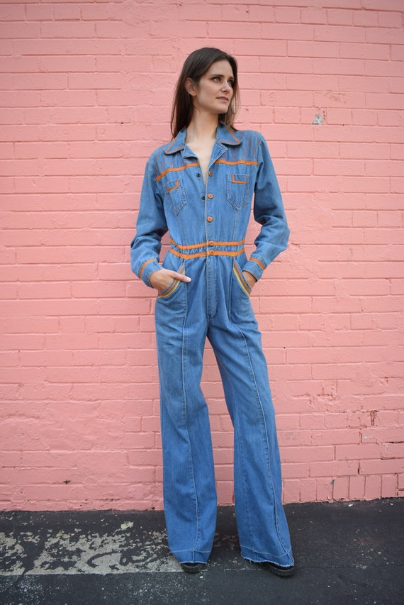 Vintage Faded Glory Denim Jumpsuit Bells Pockets … - image 2