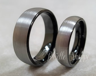 Tungsten Wedding Band Set Tungsten Ring Men S Tungsten Etsy