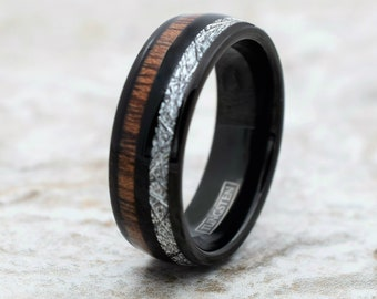 c88133680c91 Black Meteorite Tungsten Ring, Black Tungsten Ring, Meteorite Ring, Koa  Wood Ring, Black Tungsten Ring, Meteorite and Koa Wood Ring, Ring
