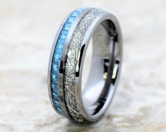 8ebcd1c9deac meteorite ring, mens meteorite tungsten ring, blue carbon fiber ring,  tungsten ring, tungsten wedding ring, meteorite tungsten ring, ring