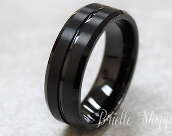 Tungsten Wedding Band | Black Tungsten Ring Etsy