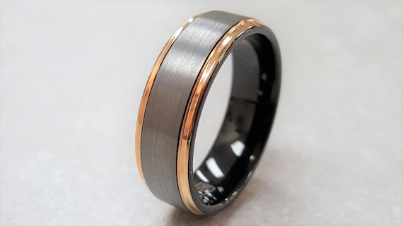 Tungsten Ring, Men's Tungsten Wedding Band, Men's Rose Gold Wedding Band, Rose Gold Tungsten Ring, Tungsten, Personalized Engraving