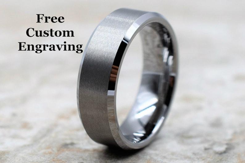 Tungsten Ring Men's Tungsten Wedding Band Men's image 0