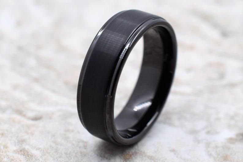 Black Tungsten Ring Tungsten Ring Men/'s Tungsten Wedding Band Tungsten Band Personalized Engraving Tungsten Men/'s Black Wedding Band