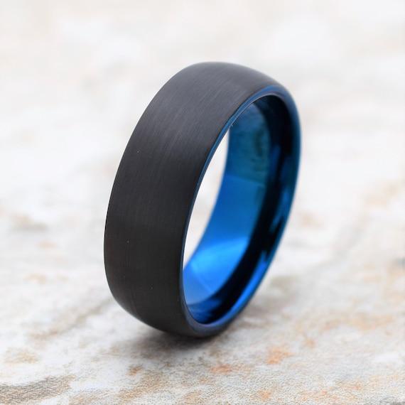 Tungsten Ring, Men's Tungsten Wedding Band, Men's Black Wedding Band, Black Tungsten Ring, Blue Tungsten Ring, Blue Ring, Mens Ring, Blue